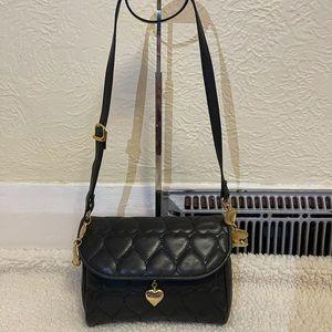MOSCHINO heart embossed crossbody bag in black